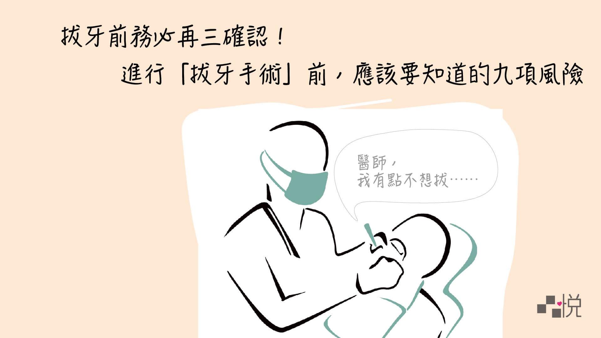有一個人躺著跟醫師說不想拔牙